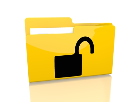 insecure: a 3d rendered icon showing a file folder with a unsafe sign on it isolated on white background