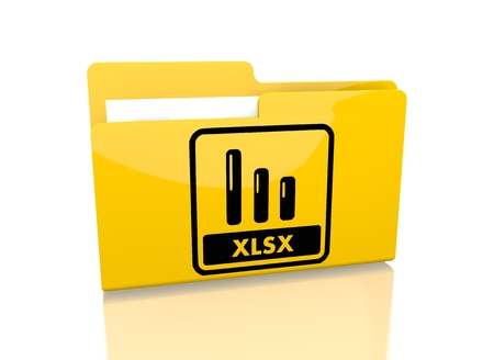 a 3d rendered icon showing a file folder with a xlsx symbol on it isolated on white background