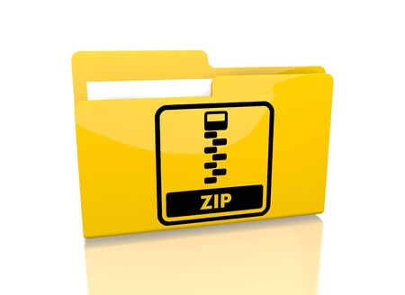 packed: a 3d rendered icon showing a file folder with a zip file sign on it isolated on white background
