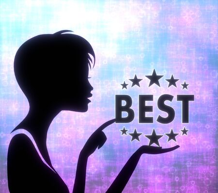 glaring: silhouette of a pretty girl presenting a glaring best on modern fresh pink blue background Stock Photo