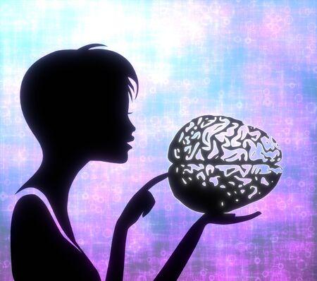 glaring: silhouette of a creative girl presenting a glaring brain on modern fresh pink blue background