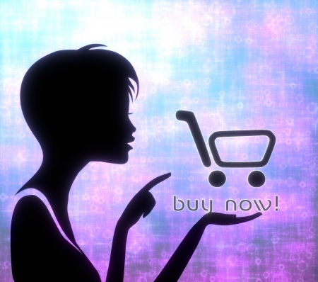 glaring: silhouette of a young girl presenting a glaring buy now on modern fresh pink blue background Stock Photo