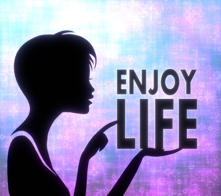 glaring: silhouette of a young girl presenting a glaring enjoy life on modern fresh pink blue background Stock Photo