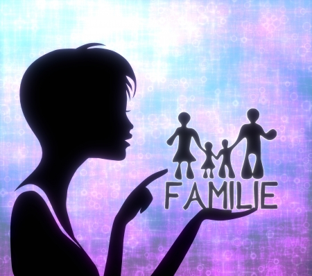 silhouette of a creative girl presenting a glaring family in german on modern fresh pink blue background