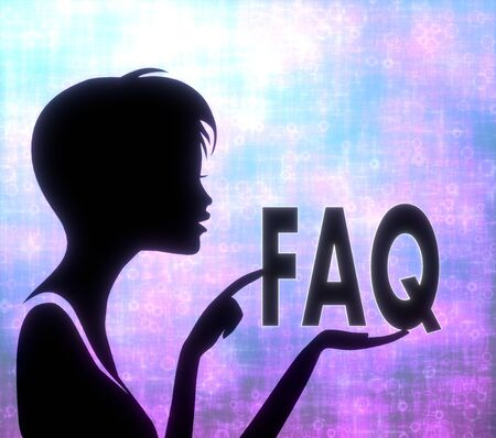 glaring: silhouette of a creative girl presenting a glaring faq on modern fresh pink blue background