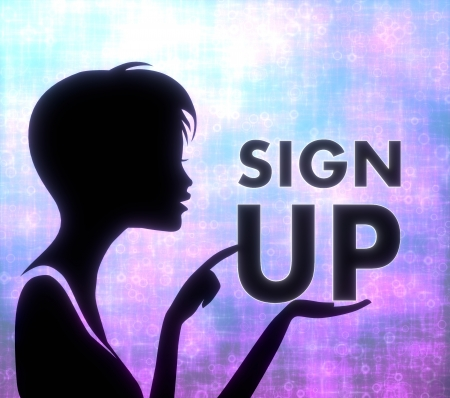 silhouette of a female girl presenting a glaring sign up on modern fresh pink blue background