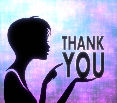 glaring: silhouette of a pretty girl presenting a glaring thank you on modern fresh pink blue background Stock Photo