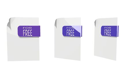 three 3d icons of a file free documents in various perspective isolated on white background photo