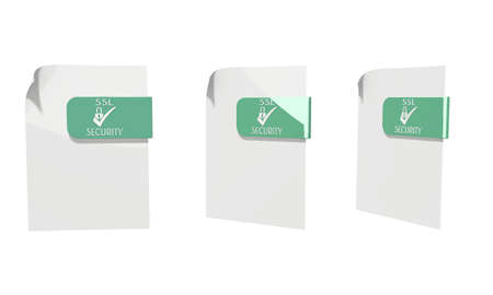 three 3d icons of a file SSL documents in various perspective isolated on white background