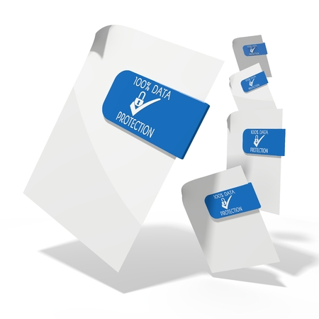ciphering: pile of flying 3d icons for data protection documents in various perspective isolated on white background