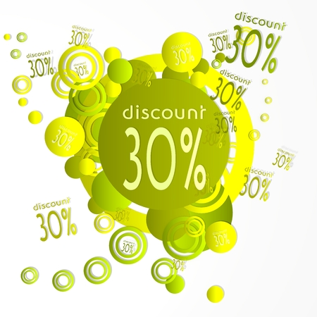 deduction: creative art discount symbol in front of a happ party art background with flying discount icons isolated on white background