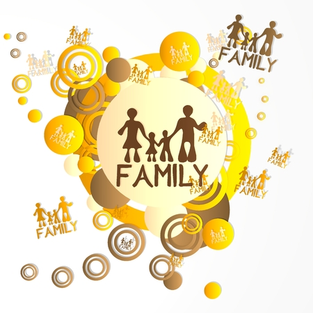 creative art family icon in front of a happ party art background with flying family icons isolated on white background photo