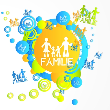 creative art family in german symbol in front of a happ party art background with flying family in german icons isolated on white background photo