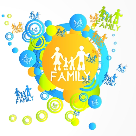creative art family sign in front of a happ party art background with flying family icons isolated on white background photo