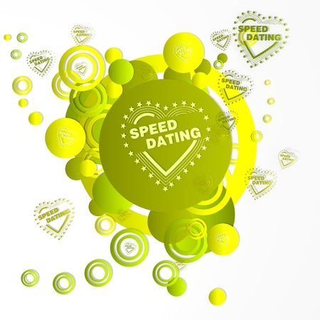 speed dating: creative art speed dating sign in front of a happ party art background with flying speed dating icons isolated on white background