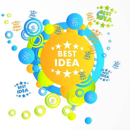 think tank: decorative art best idea sign in front of a happ party art background with flying best idea icons isolated on white background
