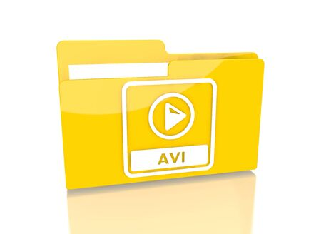 it is isolated: a 3d rendered icon showing a file folder with a avi file symbol on it isolated on white