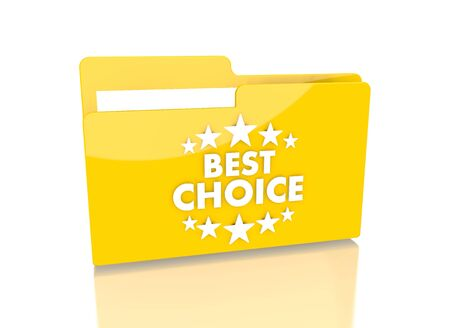 it is isolated: a 3d rendered icon showing a file folder with a best choice sign on it isolated on white  Stock Photo