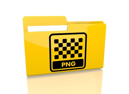 png: a 3d rendered icon showing a file folder with a png file symbol on it isolated on white  Stock Photo