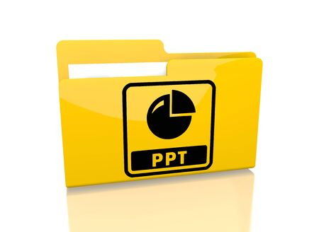 ppt: a 3d rendered icon showing a file folder with a ppt sign on it isolated on white  Stock Photo