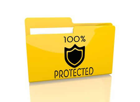 shielded: a 3d rendered icon showing a file folder with a protected symbol on it isolated on white  Stock Photo