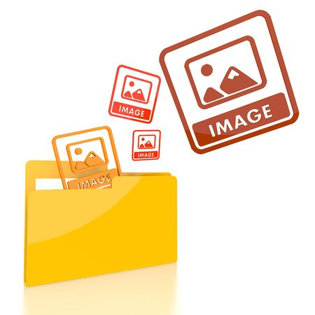 isolated 3d file folder with three image symbol flying into it