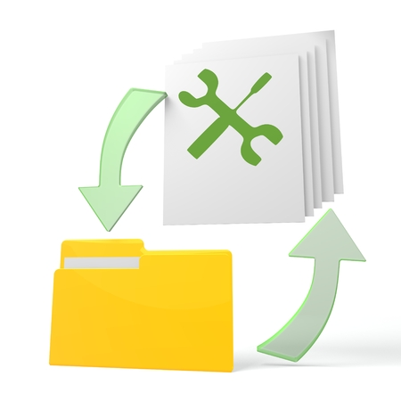 isolated 3d file folder with mechanic symbol on documents with symbol for upload and download photo