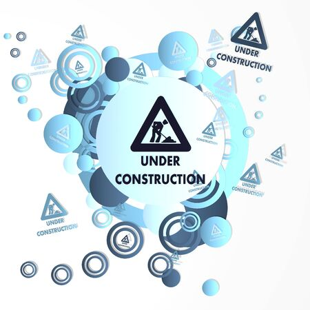 developement: trendy art under construction icon in front of a happ party art background with flying under construction icons isolated on white background Stock Photo