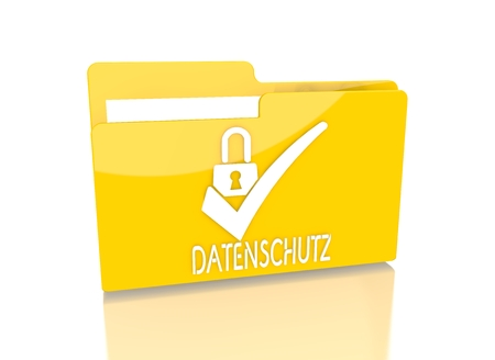 a 3d rendered icon showing a file folder with a datenschutz(english data protection) symbol on it isolated on white background