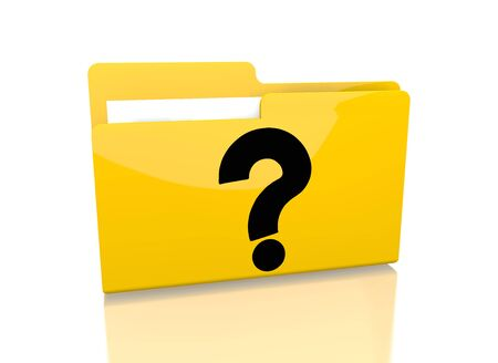it is isolated: a 3d rendered icon showing a file folder with a question symbol on it isolated on white background