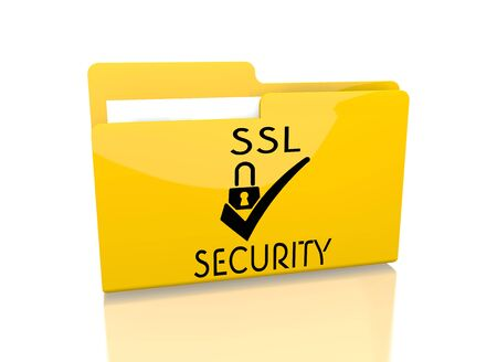 ciphering: a 3d rendered icon showing a file folder with a SSL sign on it isolated on white background
