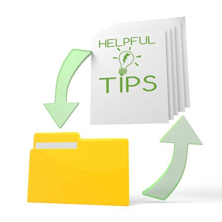 helpful: isolated 3d file folder with helpful tips symbol on documents with symbol for upload and download Stock Photo