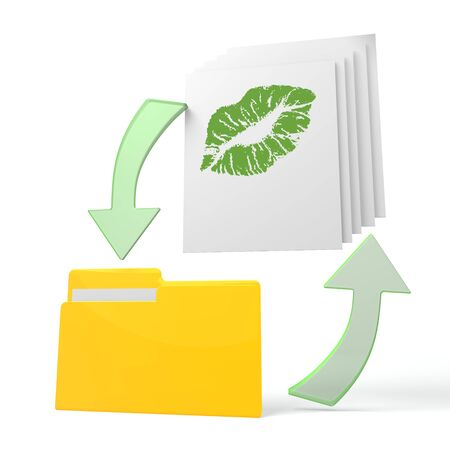 romance strategies: isolated 3d file folder with kiss symbol on documents with symbol for upload and download Stock Photo