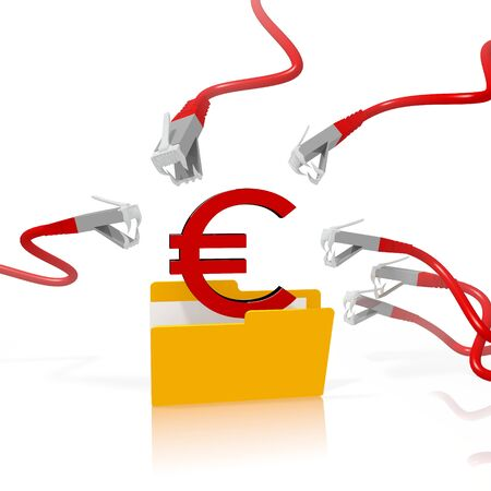 hacked: a 3d file folder with a red Euro in it isolated on white background is attacked and hacked by network cables Stock Photo