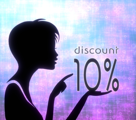 glaring: silhouette of a female girl presenting a glaring discount on modern fresh pink blue background