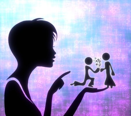 glaring: silhouette of a loving girl presenting a glaring proposal of marriage on modern fresh pink blue background