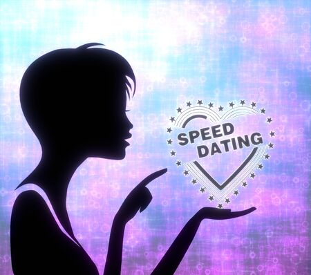 speed dating: silhouette of a pretty girl presenting a glaring speed dating on modern fresh pink blue background Stock Photo