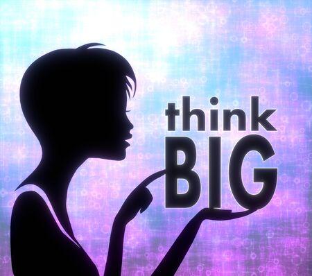 glaring: silhouette of a creative girl presenting a glaring think big on modern fresh pink blue background