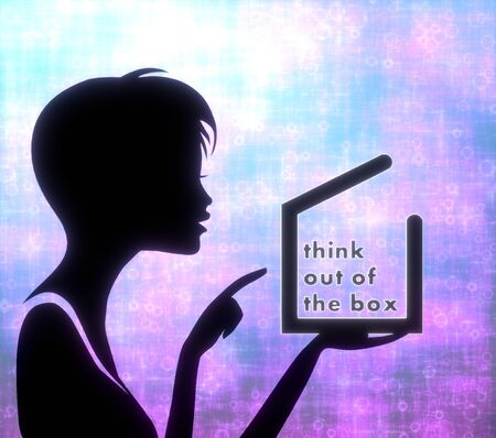 think out of the box: silhouette of a pretty girl presenting a glaring think out of the box on modern fresh pink blue background Stock Photo