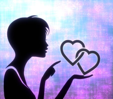 glaring: silhouette of a female girl presenting a glaring two hearts on modern fresh pink blue background