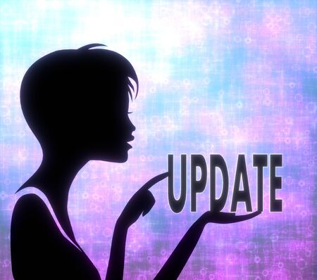 glaring: silhouette of a creative girl presenting a glaring update on modern fresh pink blue background