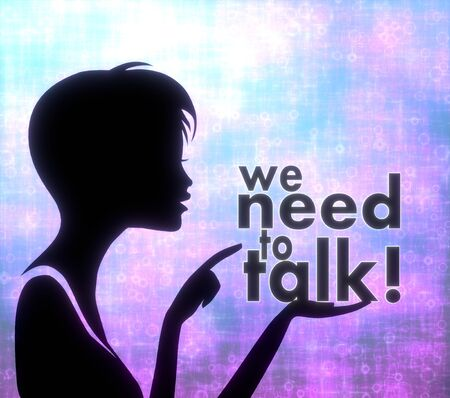 silhouette of a pretty girl presenting a glaring we need to talk on modern fresh pink blue background photo