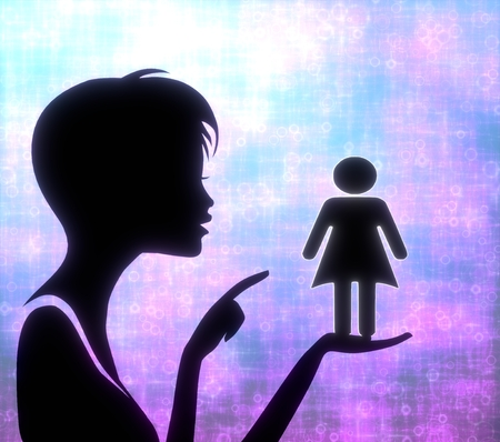 glaring: silhouette of a young girl presenting a glaring woman on modern fresh pink blue background Stock Photo
