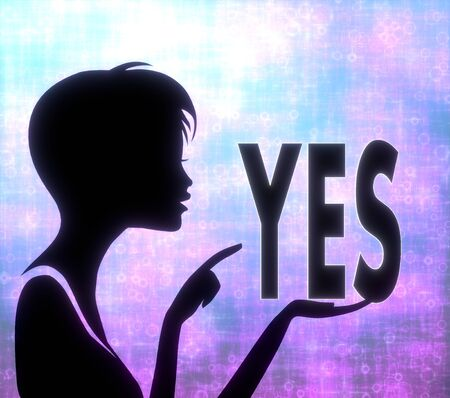 glaring: silhouette of a young girl presenting a glaring yes on modern fresh pink blue background Stock Photo