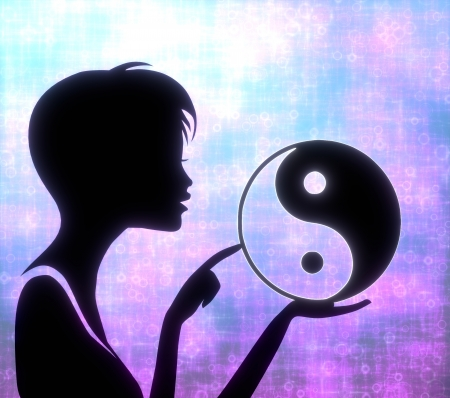 glaring: silhouette of a harmonical girl presenting a glaring ying yang on modern fresh pink blue background