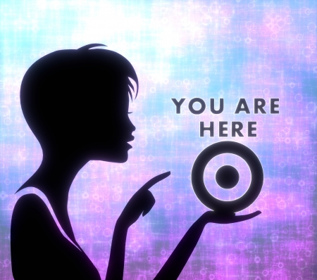 glaring: silhouette of a young girl presenting a glaring you are here on modern fresh pink blue background Stock Photo