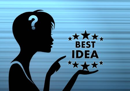 think tank: silhouette of a pretty woman presenting a best idea on stylish blue background