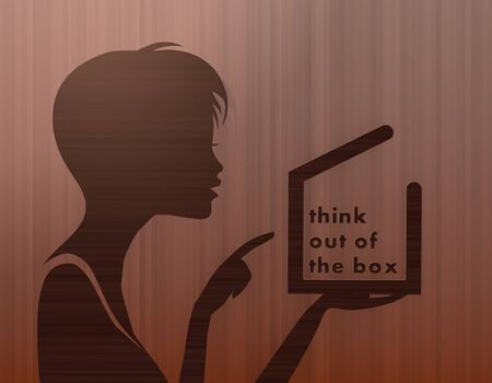 silhouette of a stylish woman presenting a think out of the box on stylish background with brown lines photo