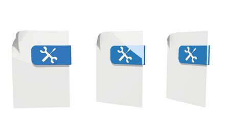 three 3d icons of a file mechanic documents in various perspective isolated on white background photo