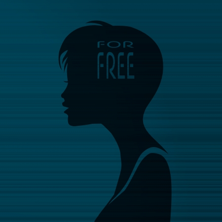 silhouette of a best price girl head with a free on stylish line background photo